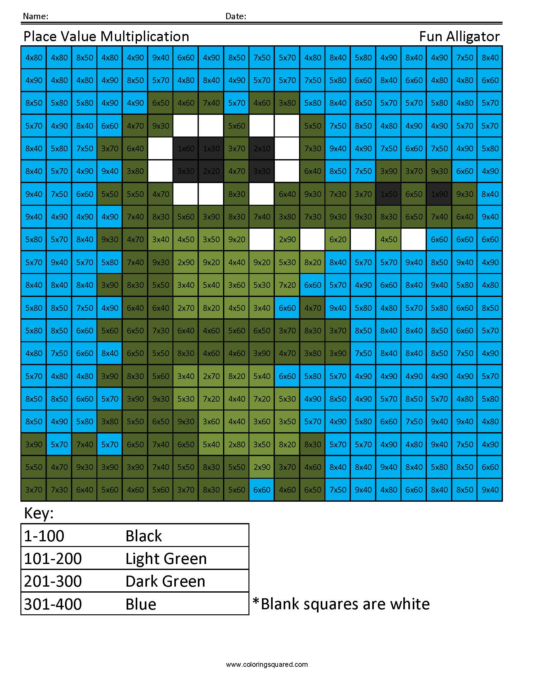 Place Value Multiplication Alligator