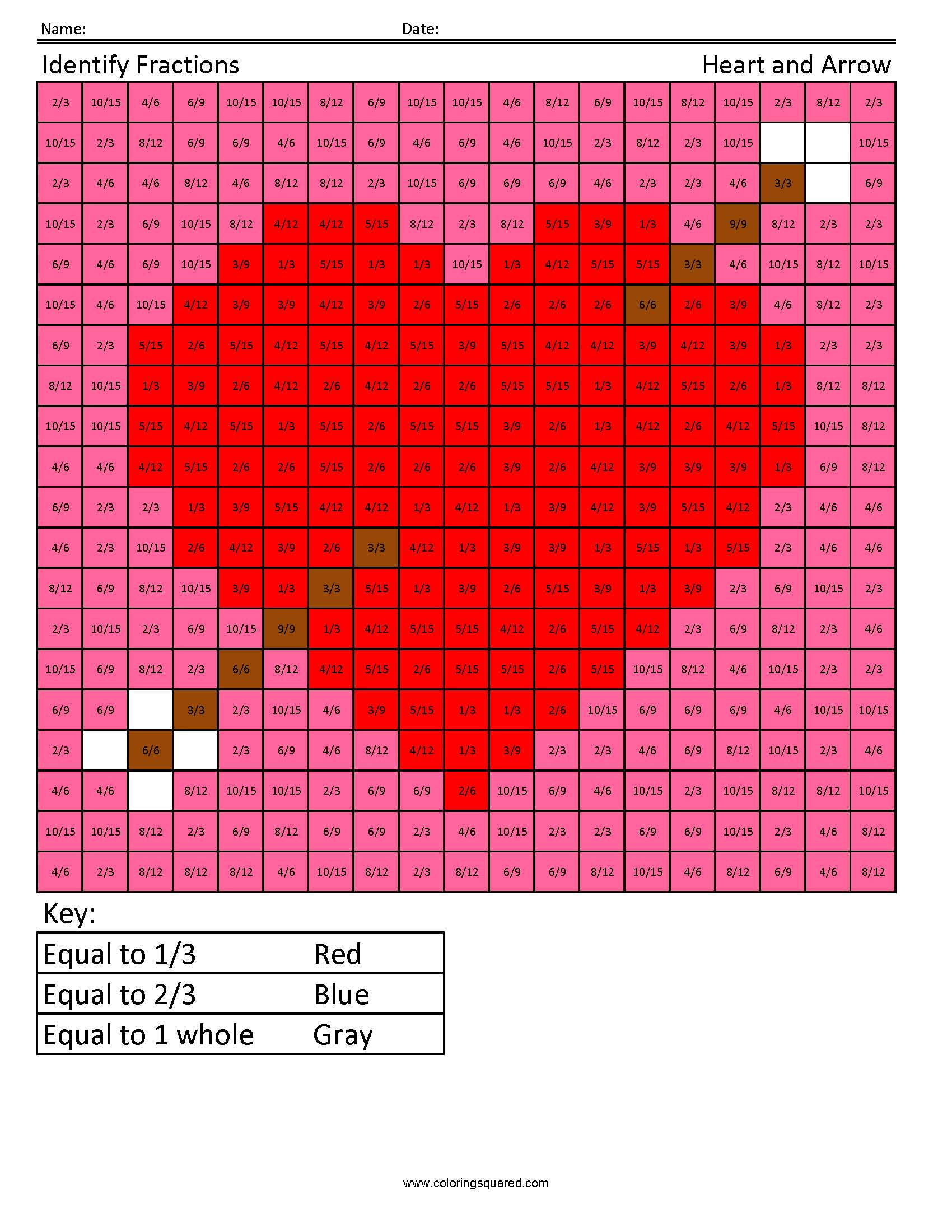 Identifying Fractions Heart