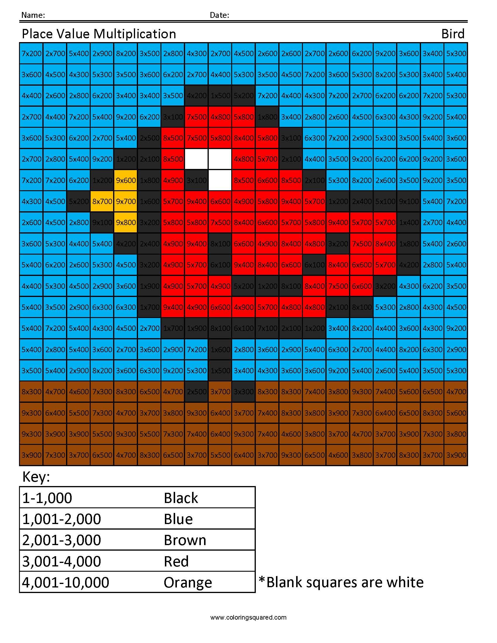 Multiplication With Hundreds Bird