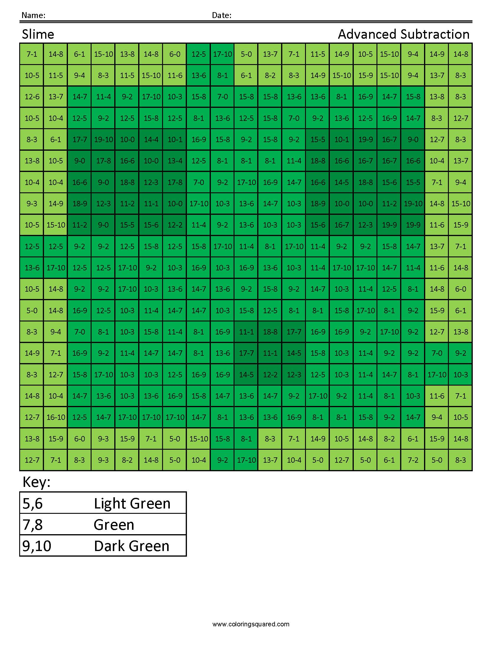 Slime Advanced Subtraction