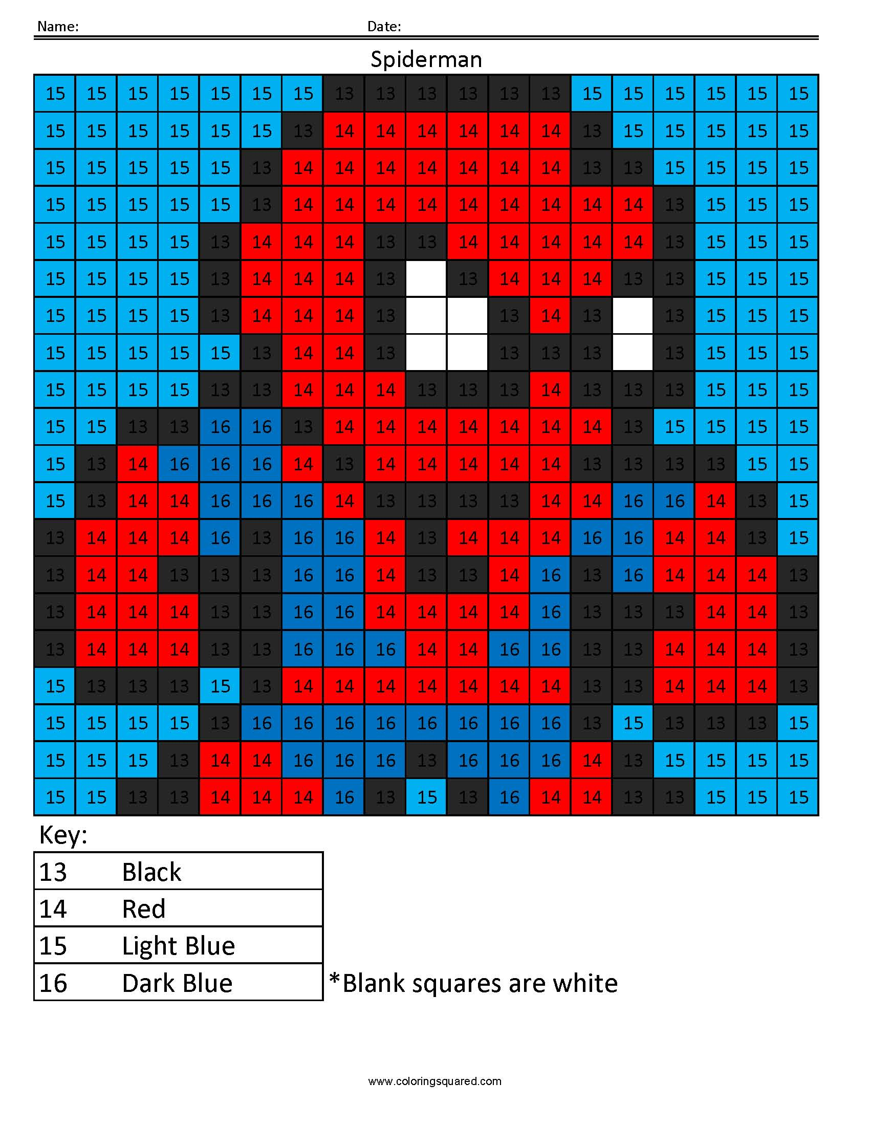 Spiderman Color By Number Superhero Activity