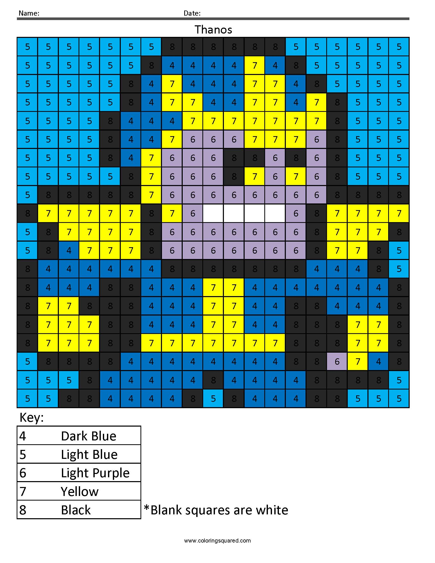 Thanos Color By Number Superhero Activity