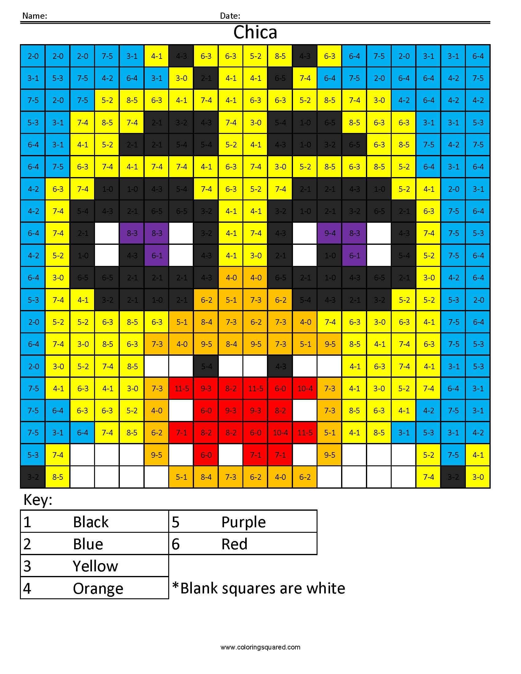 Fnaf Coloring Math Worksheets Fnaf Best Free Printable Worksheets