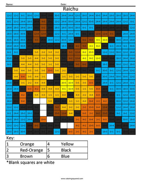 Pokemon Multiplication And Division Coloring Squared