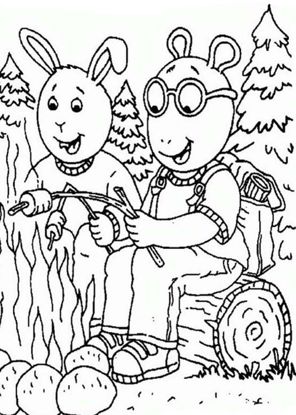 arthur read and buster baxter is going camping coloring page