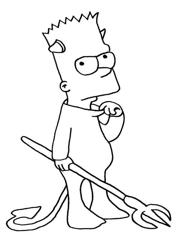 bart simpson the devil in the simpsons coloring page coloring sun