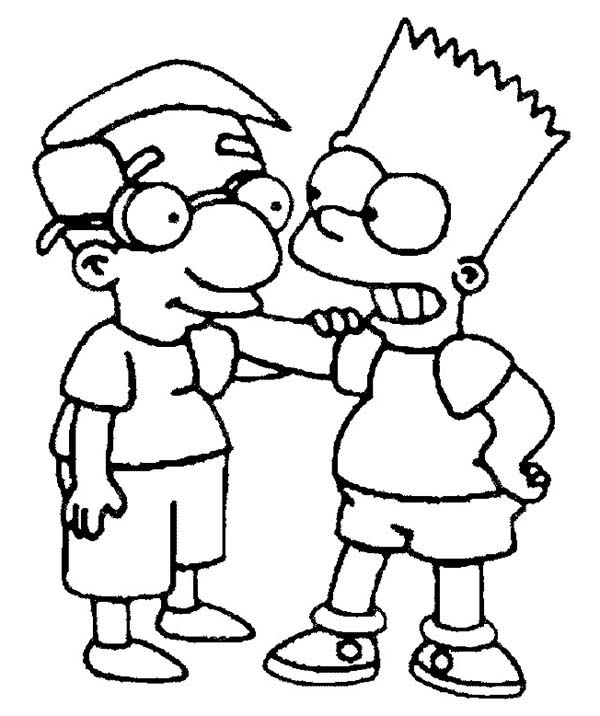 bart and milhouse are friends in the simpsons coloring page