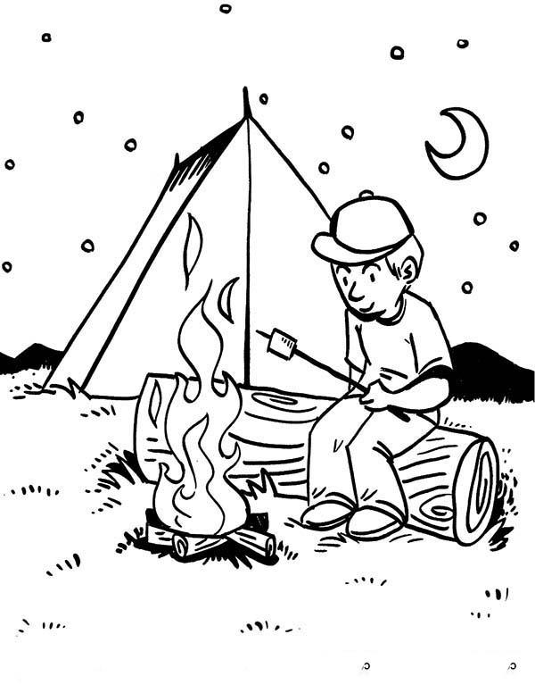 boy roasting delicious marsmallow at camping coloring page