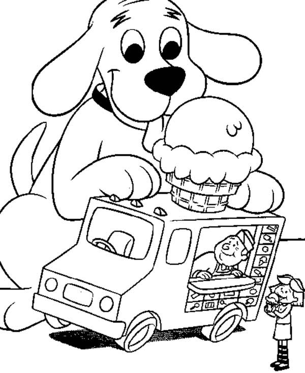 clifford the big red dog like ice crean on top of car