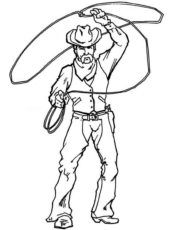 cowboy spinning lasso wide coloring page coloring sun