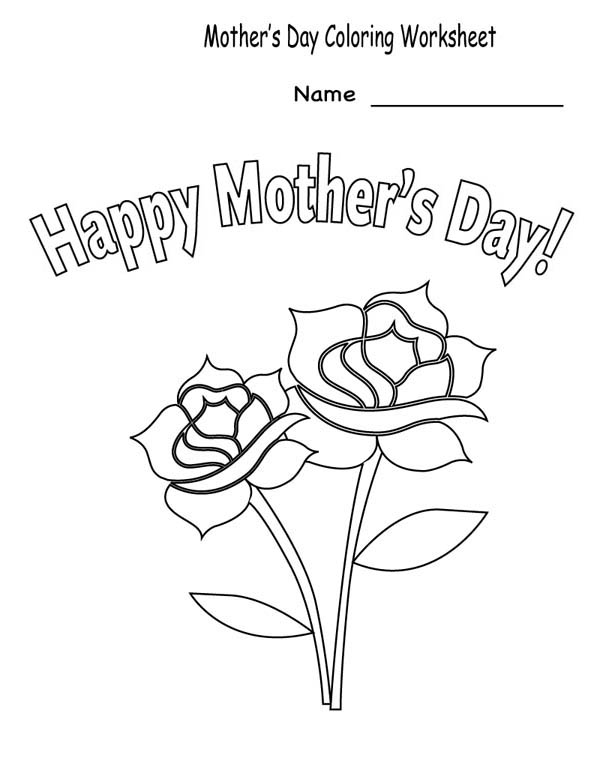 Happy Mothers Day Coloring Page For Kids Coloring Sun