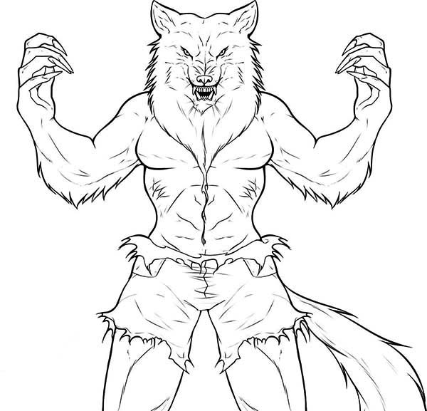 How To Draw Werewolf Coloring Page Coloring Sun