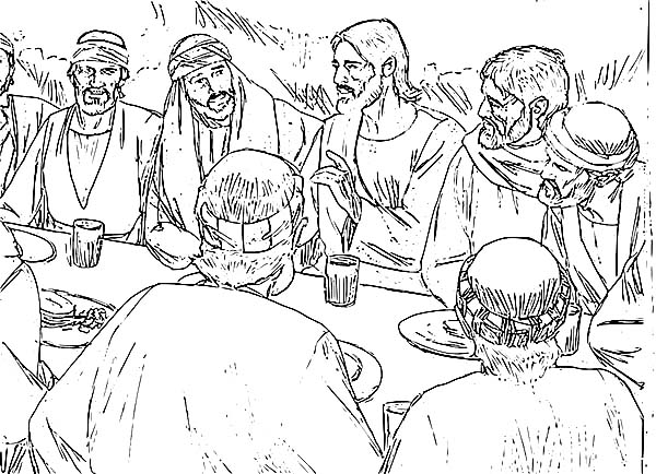 Jesus And His Disciples In Last Supper Coloring Page Coloring Sun