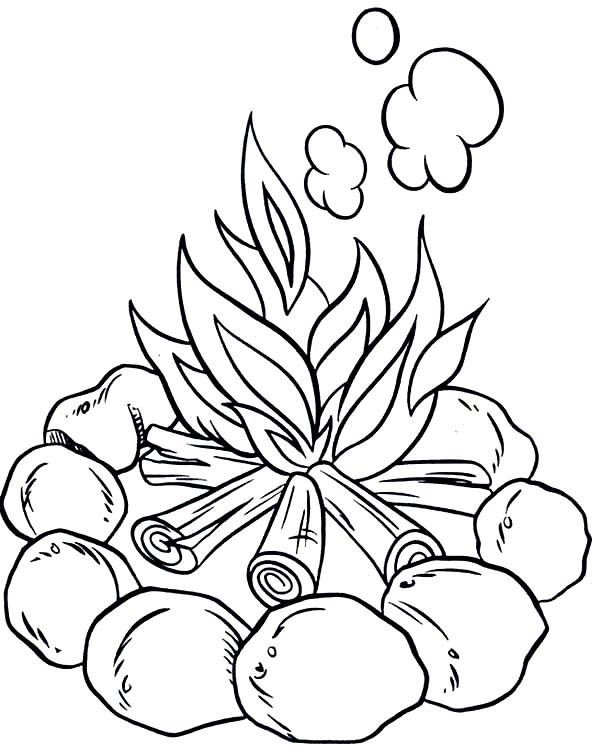 make campfire when camping coloring page coloring sun