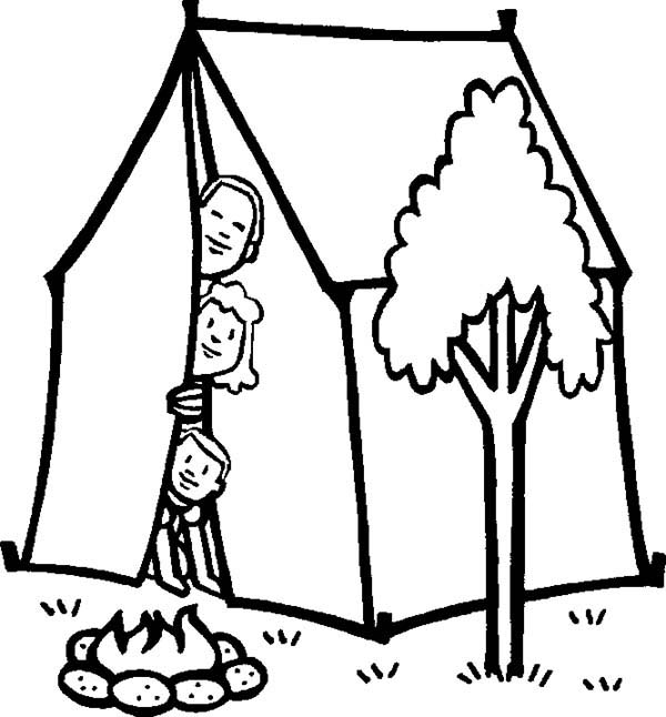 picture of family camping coloring page coloring sun
