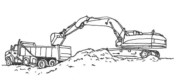 semi truck carrying material for construction job coloring page