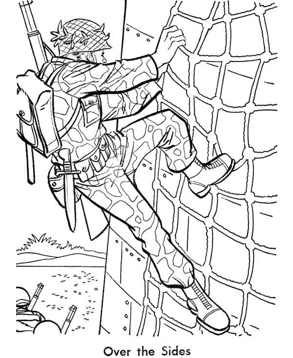 soldier is training hard in armed forces day coloring page