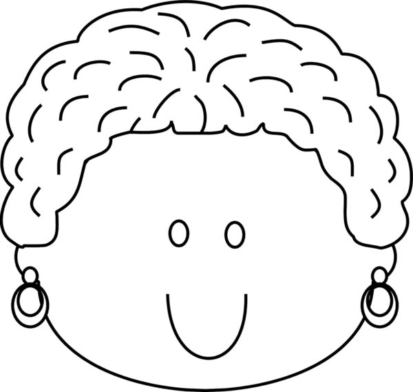 Woman Happy Face Coloring Page Coloring Sun