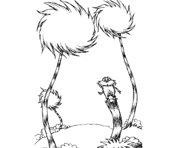 beautiful truffula tree guarded by the lorax coloring pages