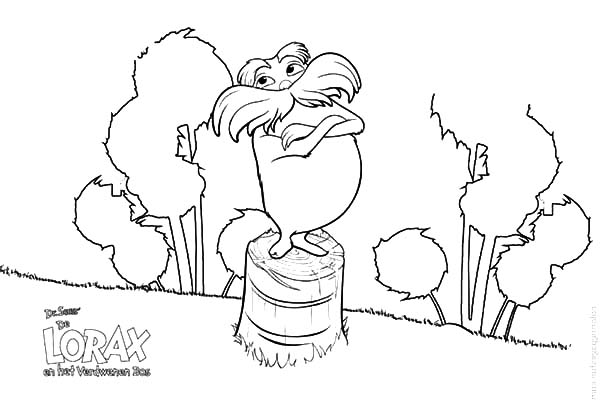 dr seuss the lorax standing on chopped tree coloring pages