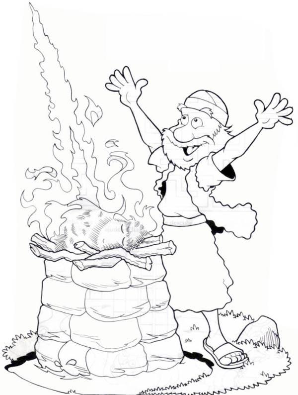 elijah coloring page prophets of baal | Bibel, Søndagsskole | 794x600