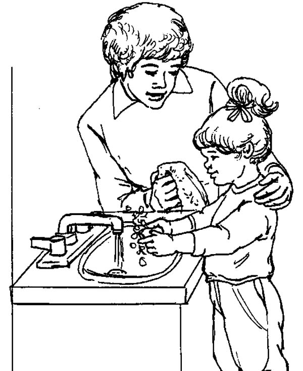 hand washing sink soap coloring pages hand washing sink