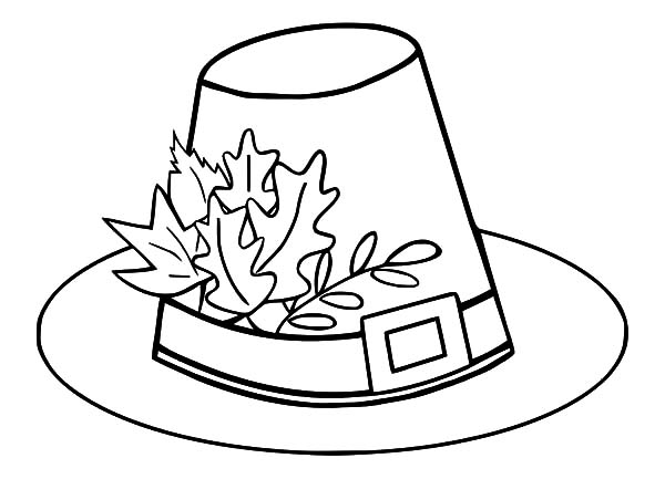 hat pilgrim hat with autumn leaves coloring pages pilgrim hat with