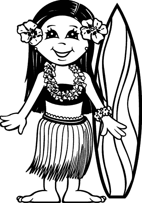 Surfer Girl Hawaii Coloring Pages Coloring Sun