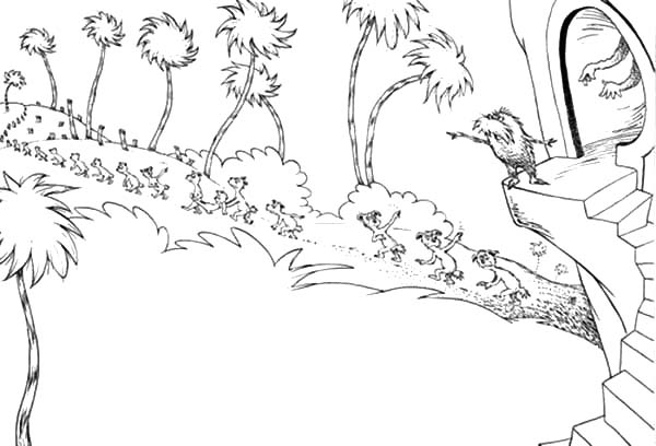 the lorax send the animals to find new place to live coloring