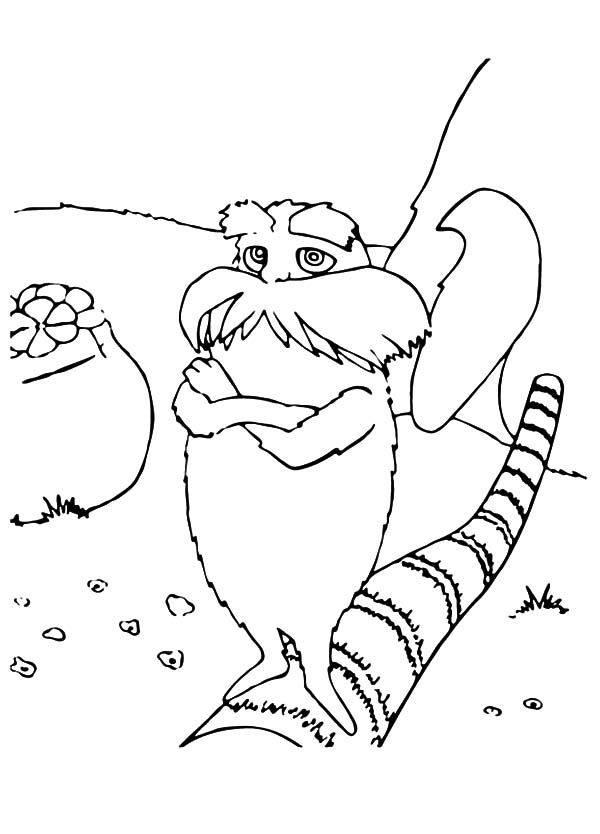 the lorax standing on cutted down tree coloring pages the lorax