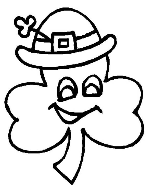 a fourleaf clover wearing irish hat coloring page  color