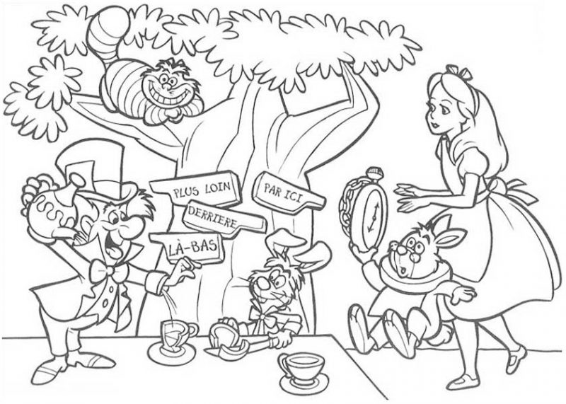 mad hatter having tea party coloring page mad hatter having tea
