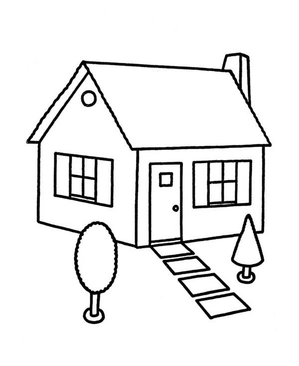 sketch house in houses coloring page color luna