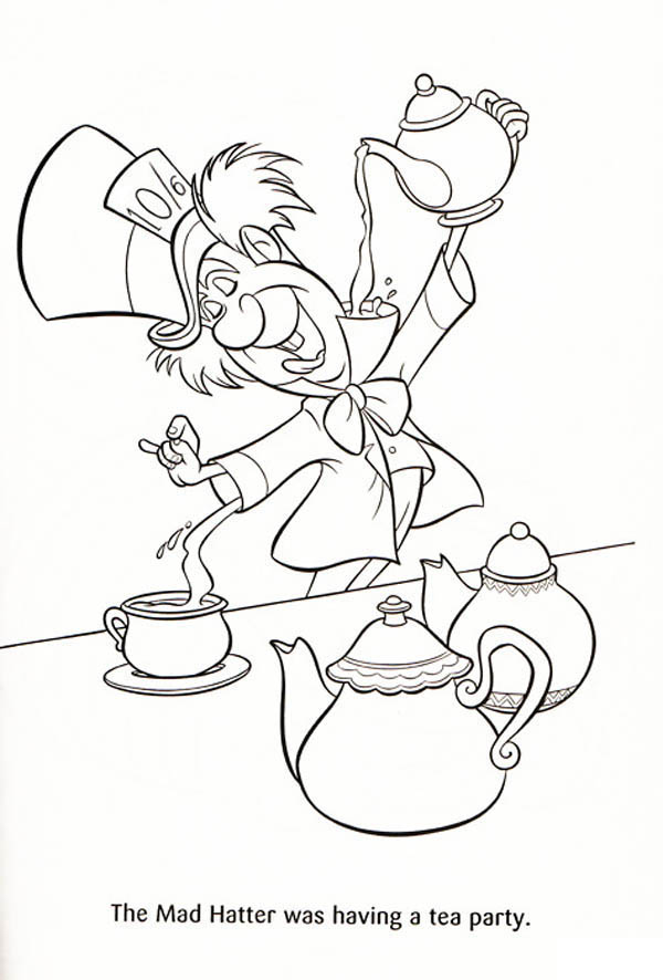 the mad hatter was having a tea party coloring page color luna