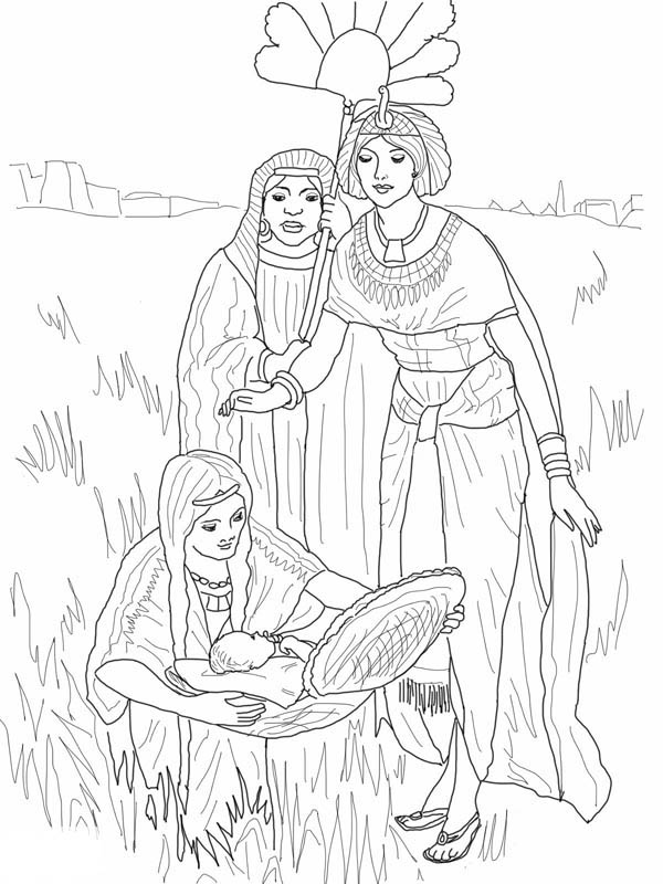 depiction of the finding of baby moses coloring page color luna