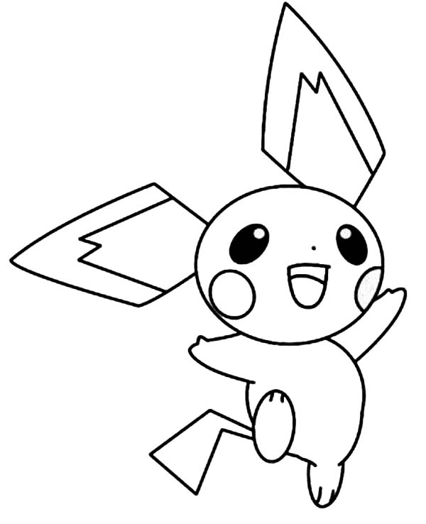 happy pichu jumping around coloring page color luna