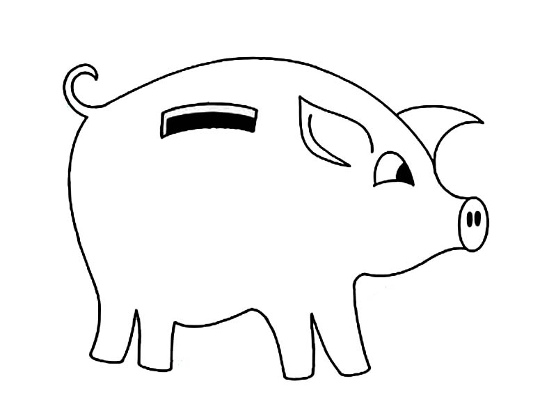 piggy bank with curly tail coloring page color luna