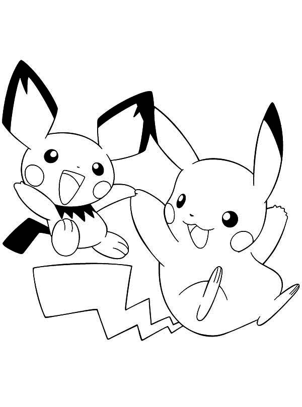 and pikachu colouring
