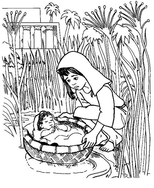 put baby moses to basket to save him coloring page color luna