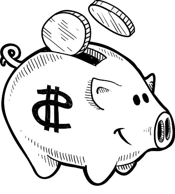 put your coin piggy bank coloring page color luna