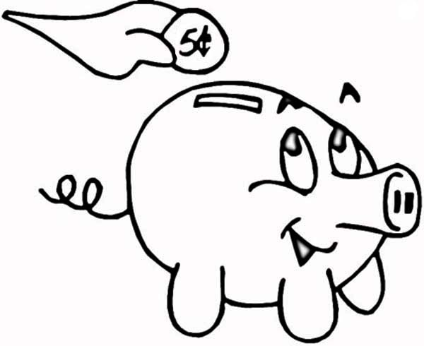 putting coin in piggy bank coloring page color luna