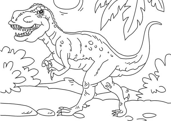 rex is very strong dinosaurus coloring page color luna