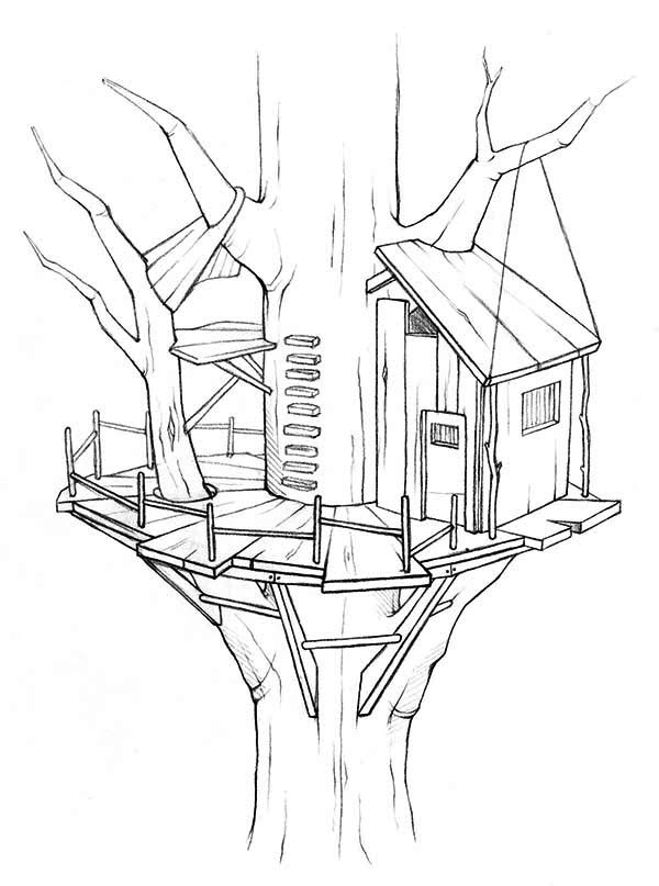 treehouse awesome treehouse coloring page