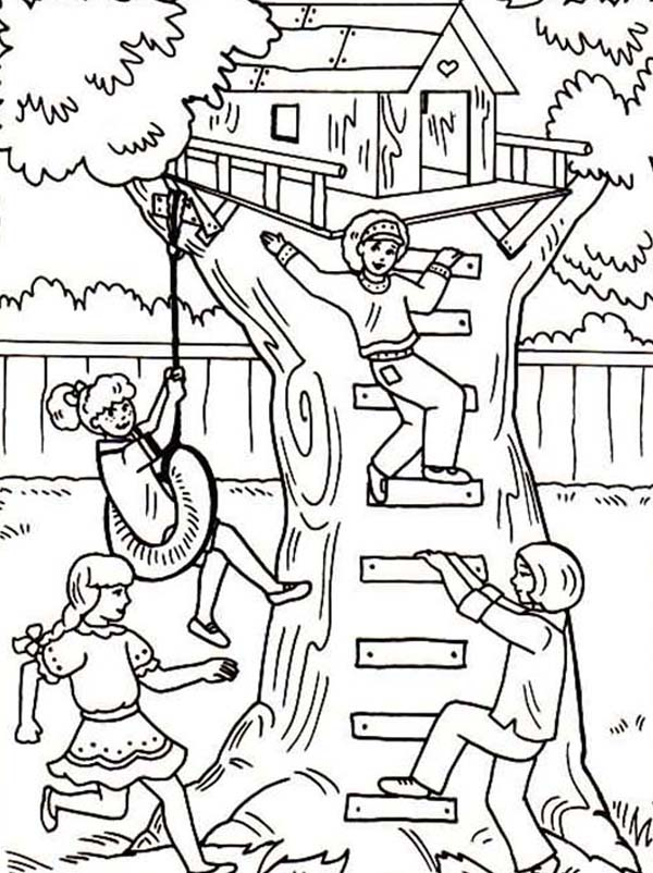 coloring page four girl having fun with their treehouse coloring page
