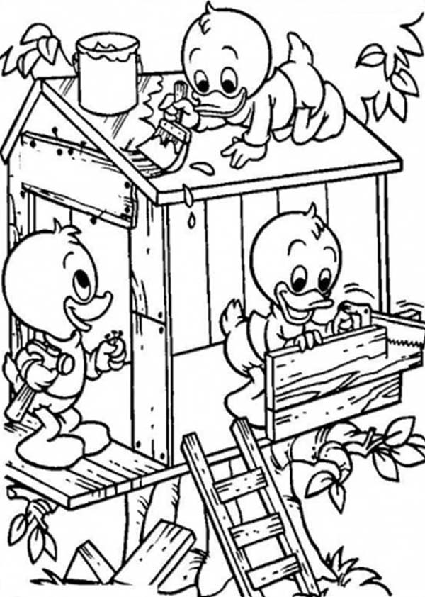 tree houses colouring pages page 2
