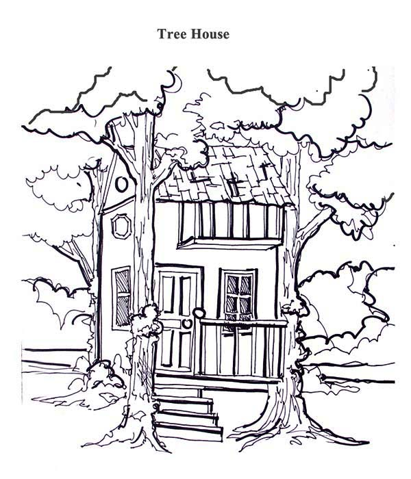 treehouse treehouse between two tree coloring page
