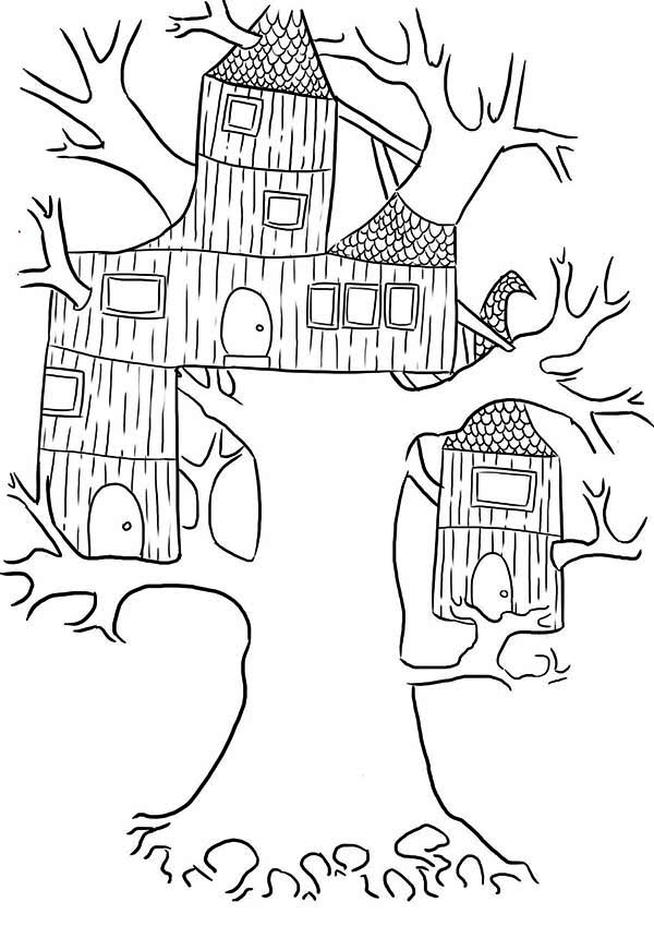 treehouse wierd treehouse coloring page
