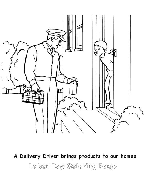 a delivery milk man in labor day coloring page color luna