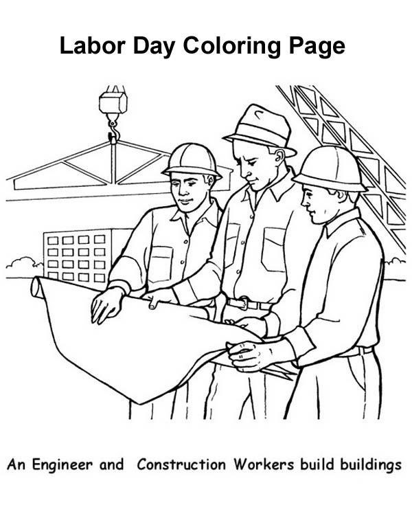 an engineer and construction workers build buildings in labor day