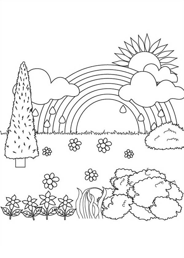 nature beautiful landscape view of nature coloring page